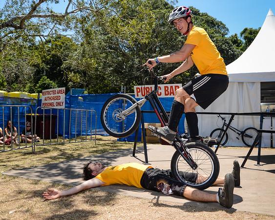 Tim Mullaly, Heiko Lehmann - ExpressiveBikes Bike Trials Stunt Team - 2013 Super Saturday at the Noosa Triathlon Multi Sport Festival, Noosa Heads, Sunshine Coast, Queensland, Australia. Camera 1. Photos by Des Thureson - http://disci.smugmug.com