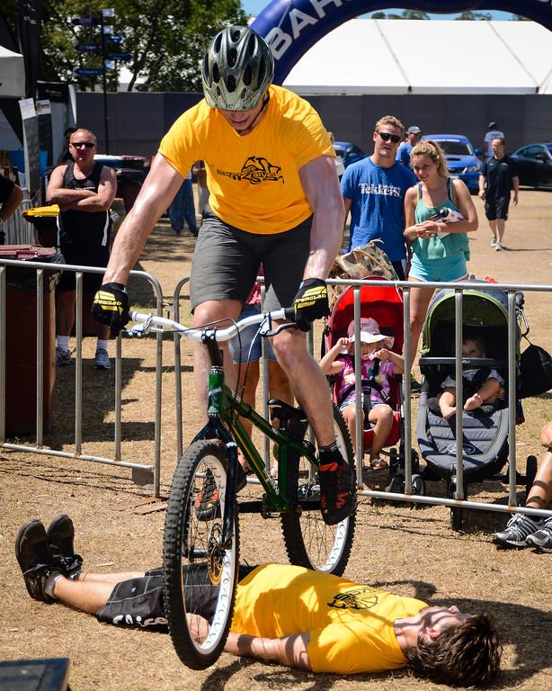 "Tim Mullaly, Lewis Greenhalgh - ExpressiveBikes Bike Trials Stunt Team - 2013 Super Saturday at the Noosa Triathlon Multi Sport Festival, Noosa Heads, Sunshine Coast, Queensland, Australia. Camera 1. Photos by Des Thureson - <a href=""http://disci.smugmug.com"">http://disci.smugmug.com</a>"