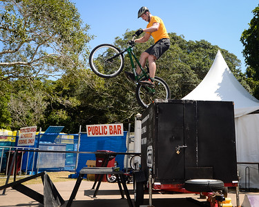 Lewis Greenhalgh - ExpressiveBikes Bike Trials Stunt Team - 2013 Super Saturday at the Noosa Triathlon Multi Sport Festival, Noosa Heads, Sunshine Coast, Queensland, Australia. Camera 1. Photos by Des Thureson - http://disci.smugmug.com