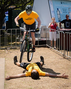 Tim Mullaly, Lewis Greenhalgh - ExpressiveBikes Bike Trials Stunt Team - 2013 Super Saturday at the Noosa Triathlon Multi Sport Festival, Noosa Heads, Sunshine Coast, Queensland, Australia. Camera 1. Photos by Des Thureson - http://disci.smugmug.com