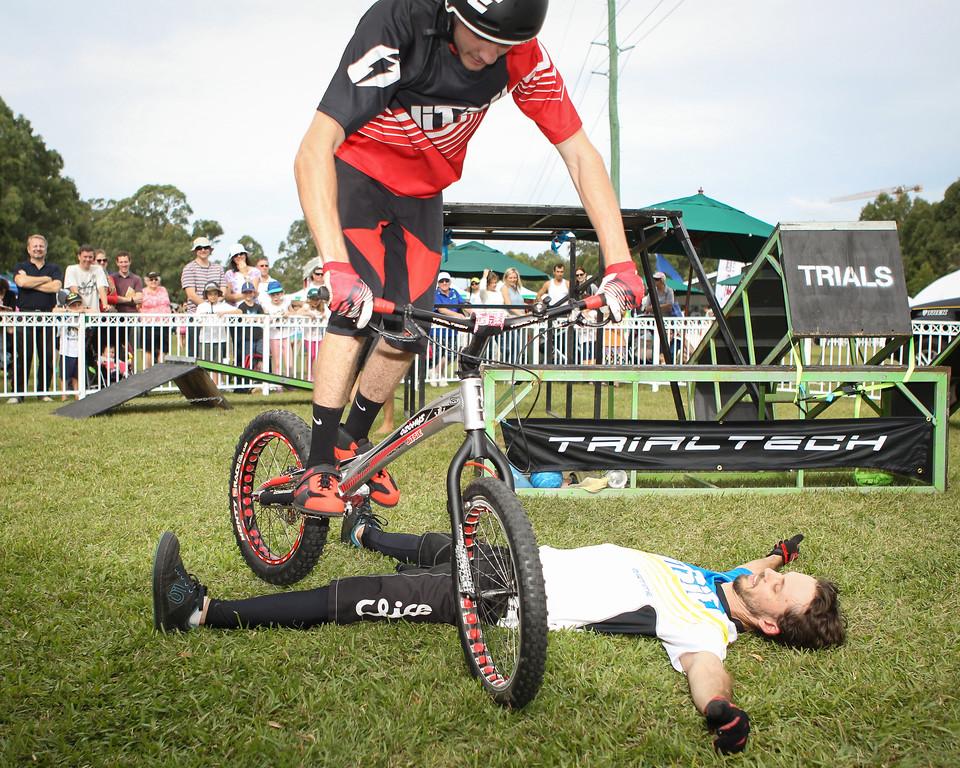 Tim Mullaly, Kyle Rolands - 2015 Expressivebikes.com Bike Trials Stunt Team at the Green Heart Fair, Brisbane, Queensland, Australia; Sunday 31 May 2015. Photos by Des Thureson.