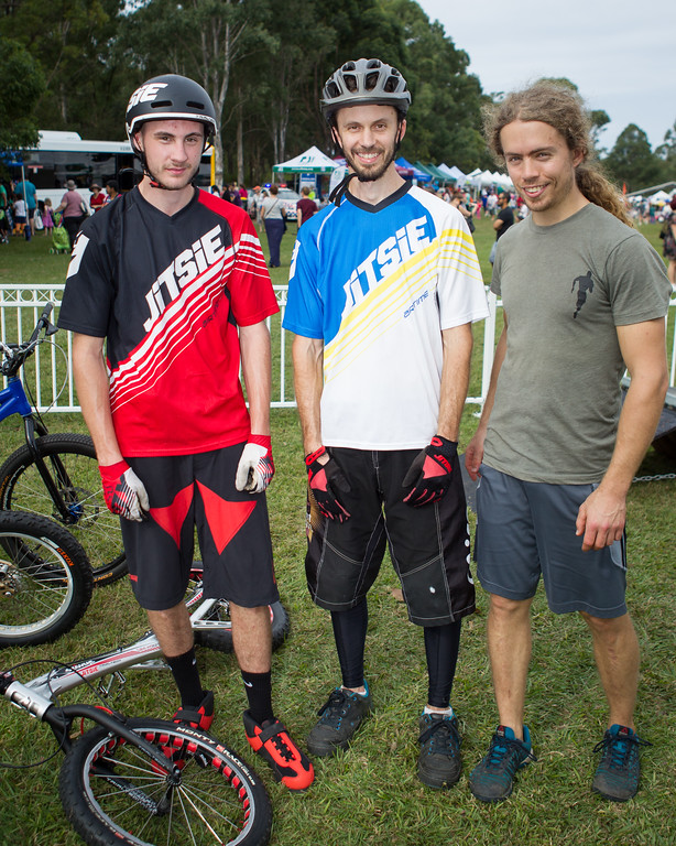Kyle Rolands, Tim Mullaly, Jack Mullaly - 2015 Expressivebikes.com Bike Trials Stunt Team at the Green Heart Fair, Brisbane, Queensland, Australia; Sunday 31 May 2015. Photos by Des Thureson.