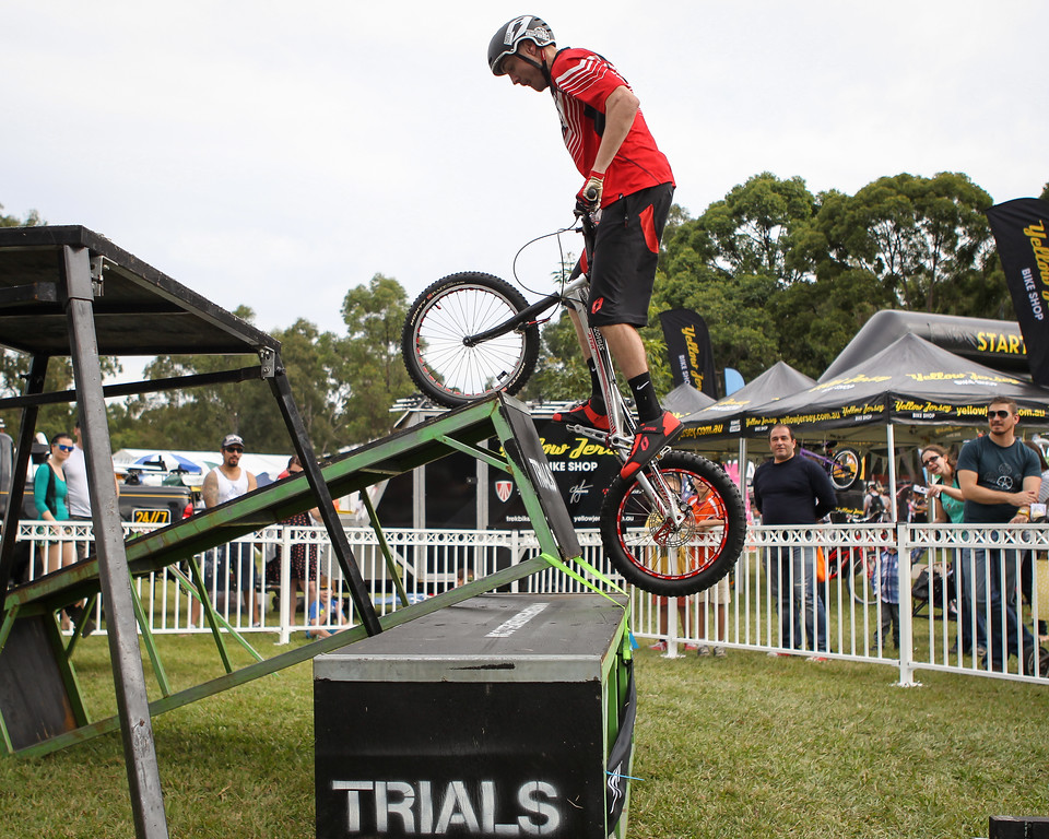 Kyle Rolands - 2015 Expressivebikes.com Bike Trials Stunt Team at the Green Heart Fair, Brisbane, Queensland, Australia; Sunday 31 May 2015. Photos by Des Thureson.