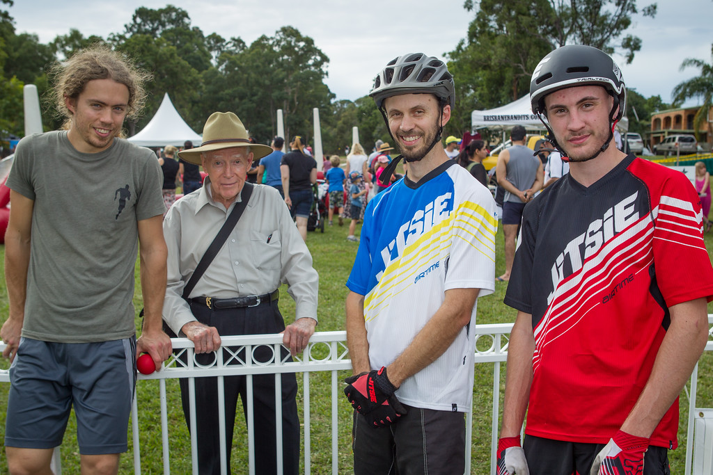 Jack Mullaly, Ron, Tim Mullaly, Kyle Rolands - 2015 Expressivebikes.com Bike Trials Stunt Team at the Green Heart Fair, Brisbane, Queensland, Australia; Sunday 31 May 2015. Photos by Des Thureson.