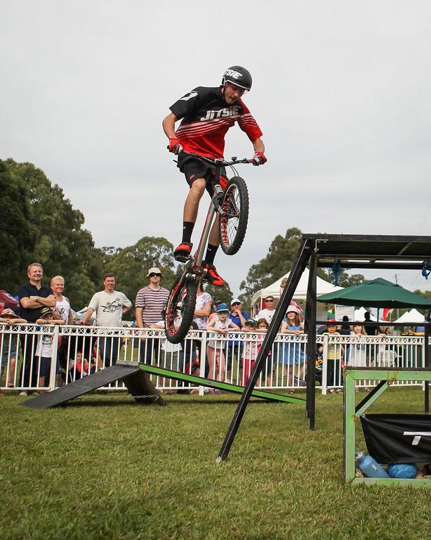 Kyle Rolands - 2015 Expressivebikes.com Bike Trials Stunt Team at the Green Heart Fair, Brisbane, Queensland, Australia; Sunday 31 May 2015. Photos by Des Thureson.