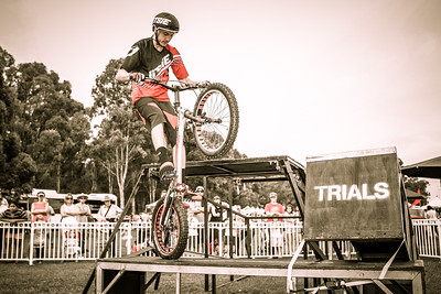 Alternate Procssing: The 300  Movie Look - Kyle Rolands - 2015 Expressivebikes.com Bike Trials Stunt Team at the Green Heart Fair, Brisbane, Queensland, Australia; Sunday 31 May 2015. Photos by Des Thureson.