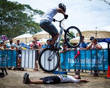 Alternate processing, PH Fantasy Dress - Le Hua - 2012 Expressivebikes.com Bike Trials Demo Team at the Noosa Triathlon Multi Sport Festival, Noosa Heads, Sunshine Coast, Queensland, Australia. Camera 2. Photos by Des Thureson.