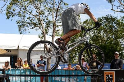 Le Hua - 2012 Expressivebikes.com Bike Trials Demo Team at the Noosa Triathlon Multi Sport Festival, Noosa Heads, Sunshine Coast, Queensland, Australia. Camera 1. Photos by Des Thureson.