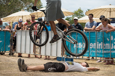 Tim Mullaly - 2012 Expressivebikes.com Bike Trials Demo Team at the Noosa Triathlon Multi Sport Festival, Noosa Heads, Sunshine Coast, Queensland, Australia. Camera 1. Photos by Des Thureson.
