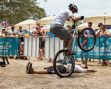 Le Hua - 2012 Expressivebikes.com Bike Trials Demo Team at the Noosa Triathlon Multi Sport Festival, Noosa Heads, Sunshine Coast, Queensland, Australia. Camera 2. Photos by Des Thureson.