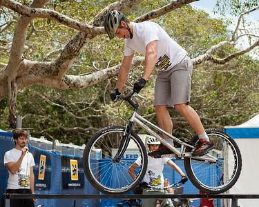 Lewis Greenhalgh - 2012 Expressivebikes.com Bike Trials Demo Team at the Noosa Triathlon Multi Sport Festival, Noosa Heads, Sunshine Coast, Queensland, Australia. Camera 2. Photos by Des Thureson.