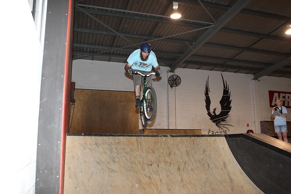 """Allan Phillipson - ExpressiveBikes - Inspired Bike Trials Expression Session 2013; Ride On Indoor Park, Coopers Plains, Brisbane, Queensland, Australia; 31 August 2013. Camera 2, Photos by Des Thureson - <a href=""""http://disci.smugmug.com"""">http://disci.smugmug.com</a>."""