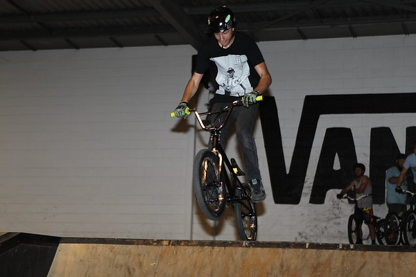 """Kyle Rolands - ExpressiveBikes - Inspired Bike Trials Expression Session 2013; Ride On Indoor Park, Coopers Plains, Brisbane, Queensland, Australia; 31 August 2013. Camera 2, Photos by Des Thureson - <a href=""""http://disci.smugmug.com"""">http://disci.smugmug.com</a>."""