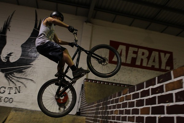 "Joel Nelson - ExpressiveBikes - Inspired Bike Trials Expression Session 2013; Ride On Indoor Park, Coopers Plains, Brisbane, Queensland, Australia; 31 August 2013. Camera 2, Photos by Des Thureson - <a href=""http://disci.smugmug.com"">http://disci.smugmug.com</a>."