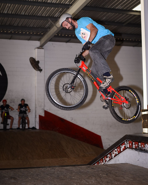 """Adrian Turmine - ExpressiveBikes - Inspired Bike Trials Expression Session 2014; Ride On Indoor Park, Coopers Plains, Brisbane, Queensland, Australia; 30 August 2014. Camera 1, Photos by Des Thureson - <a href=""""http://disci.smugmug.com"""">http://disci.smugmug.com</a>."""
