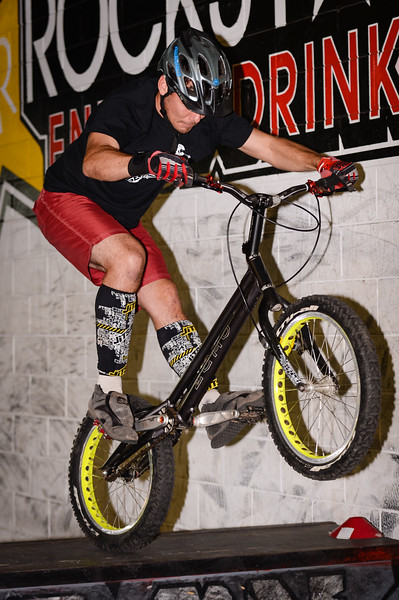 """Morgan Driessens - ExpressiveBikes - Inspired Bike Trials Expression Session 2014; Ride On Indoor Park, Coopers Plains, Brisbane, Queensland, Australia; 30 August 2014. Camera 1, Photos by Des Thureson - <a href=""""http://disci.smugmug.com"""">http://disci.smugmug.com</a>."""