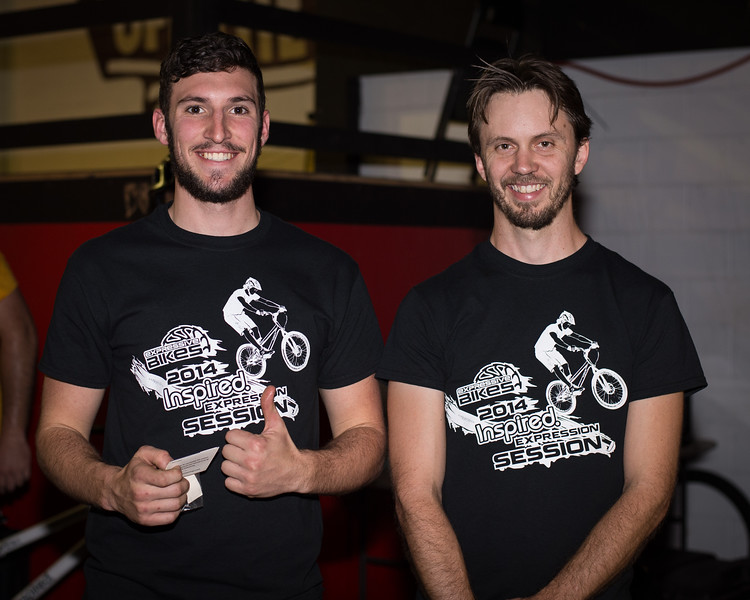 """Kaleb Cox, Tim Mullaly - ExpressiveBikes - Inspired Bike Trials Expression Session 2014; Ride On Indoor Park, Coopers Plains, Brisbane, Queensland, Australia; 30 August 2014. Camera 1, Photos by Des Thureson - <a href=""""http://disci.smugmug.com"""">http://disci.smugmug.com</a>."""