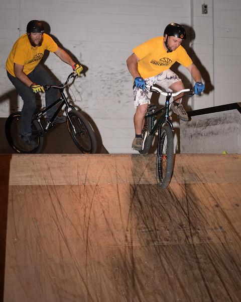 "Joel Nelson, Allan Phillipson - ExpressiveBikes - Inspired Bike Trials Expression Session 2014; Ride On Indoor Park, Coopers Plains, Brisbane, Queensland, Australia; 30 August 2014. Camera 1, Photos by Des Thureson - <a href=""http://disci.smugmug.com"">http://disci.smugmug.com</a>."