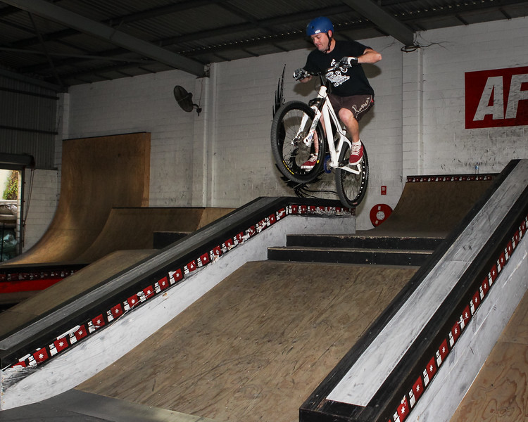 "Ben Croft - ExpressiveBikes - Inspired Bike Trials Expression Session 2014; Ride On Indoor Park, Coopers Plains, Brisbane, Queensland, Australia; 30 August 2014. Camera 2, Photos by Des Thureson - <a href=""http://disci.smugmug.com"">http://disci.smugmug.com</a>."