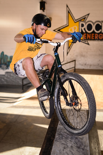 """Joel Nelson - ExpressiveBikes - Inspired Bike Trials Expression Session 2014; Ride On Indoor Park, Coopers Plains, Brisbane, Queensland, Australia; 30 August 2014. Camera 1, Photos by Des Thureson - <a href=""""http://disci.smugmug.com"""">http://disci.smugmug.com</a>."""