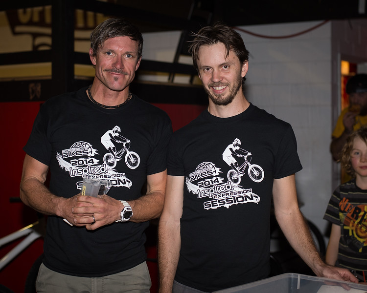 """Paul Cox, Tim Mullaly - ExpressiveBikes - Inspired Bike Trials Expression Session 2014; Ride On Indoor Park, Coopers Plains, Brisbane, Queensland, Australia; 30 August 2014. Camera 1, Photos by Des Thureson - <a href=""""http://disci.smugmug.com"""">http://disci.smugmug.com</a>."""