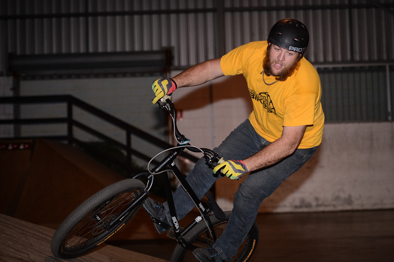 """Allan Phillipson - ExpressiveBikes - Inspired Bike Trials Expression Session 2014; Ride On Indoor Park, Coopers Plains, Brisbane, Queensland, Australia; 30 August 2014. Camera 1, Photos by Des Thureson - <a href=""""http://disci.smugmug.com"""">http://disci.smugmug.com</a>."""