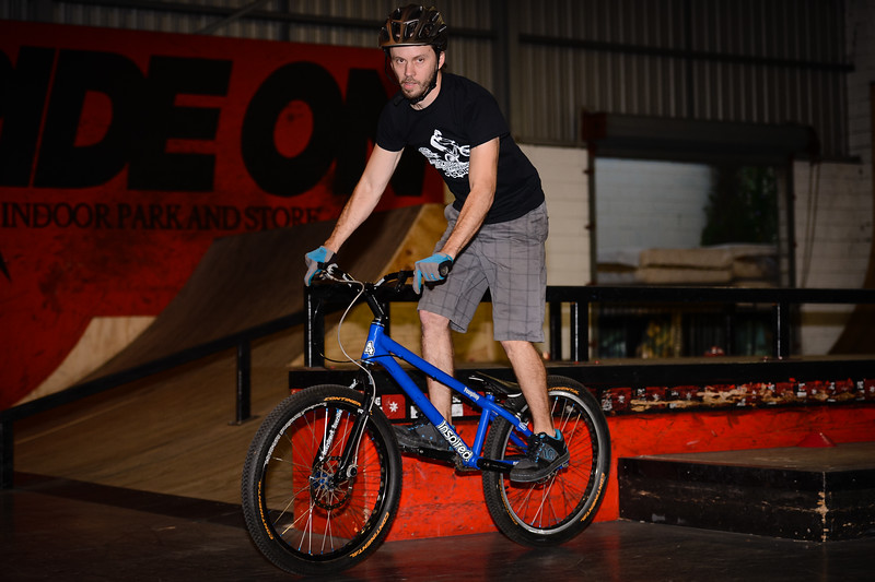 """Tim Mullaly - ExpressiveBikes - Inspired Bike Trials Expression Session 2014; Ride On Indoor Park, Coopers Plains, Brisbane, Queensland, Australia; 30 August 2014. Camera 1, Photos by Des Thureson - <a href=""""http://disci.smugmug.com"""">http://disci.smugmug.com</a>."""