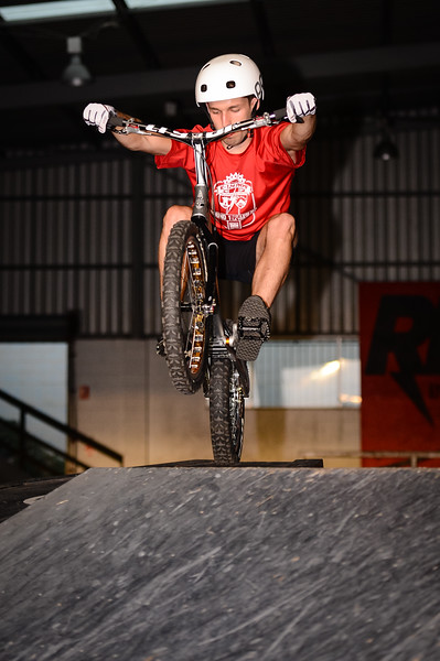 """Dan Švaříček -  ExpressiveBikes - Inspired Bike Trials Expression Session 2014; Ride On Indoor Park, Coopers Plains, Brisbane, Queensland, Australia; 30 August 2014. Camera 1, Photos by Des Thureson - <a href=""""http://disci.smugmug.com"""">http://disci.smugmug.com</a>.  - Dan is from the Czech Republic and is the Czech National Expert Champion."""