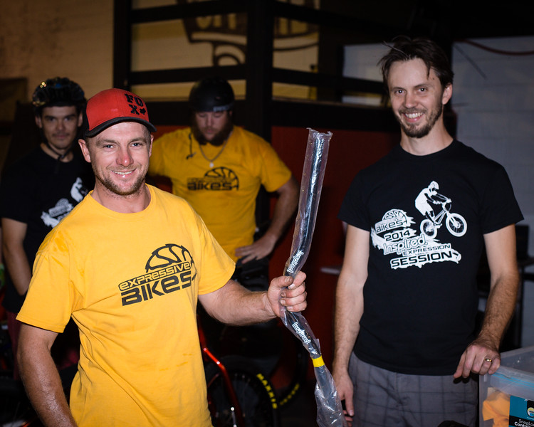 """Joel Nelson, Tim Mullaly - ExpressiveBikes - Inspired Bike Trials Expression Session 2014; Ride On Indoor Park, Coopers Plains, Brisbane, Queensland, Australia; 30 August 2014. Camera 1, Photos by Des Thureson - <a href=""""http://disci.smugmug.com"""">http://disci.smugmug.com</a>."""