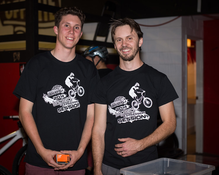 """Levi Cox, Tim MUllaly - ExpressiveBikes - Inspired Bike Trials Expression Session 2014; Ride On Indoor Park, Coopers Plains, Brisbane, Queensland, Australia; 30 August 2014. Camera 1, Photos by Des Thureson - <a href=""""http://disci.smugmug.com"""">http://disci.smugmug.com</a>."""