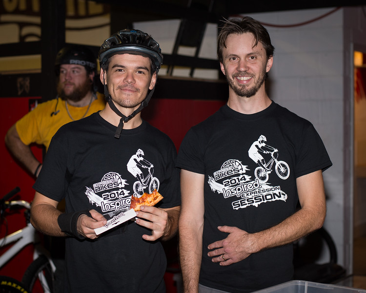 "Morgan Driessens, Tim Mullaly - ExpressiveBikes - Inspired Bike Trials Expression Session 2014; Ride On Indoor Park, Coopers Plains, Brisbane, Queensland, Australia; 30 August 2014. Camera 1, Photos by Des Thureson - <a href=""http://disci.smugmug.com"">http://disci.smugmug.com</a>."