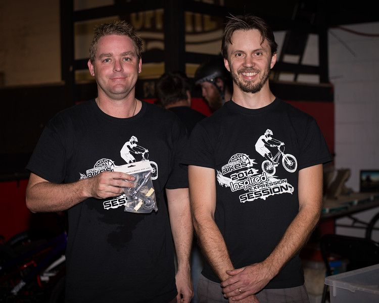 "Ben Croft, Tim Mullaly - ExpressiveBikes - Inspired Bike Trials Expression Session 2014; Ride On Indoor Park, Coopers Plains, Brisbane, Queensland, Australia; 30 August 2014. Camera 1, Photos by Des Thureson - <a href=""http://disci.smugmug.com"">http://disci.smugmug.com</a>."