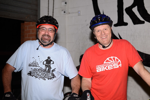 """Don Rolands, Tony Leyland - ExpressiveBikes - Inspired Bike Trials Expression Session 2013; Ride On Indoor Park, Coopers Plains, Brisbane, Queensland, Australia; 31 August 2013. Camera 1, Photos by Des Thureson - <a href=""""http://disci.smugmug.com"""">http://disci.smugmug.com</a>."""
