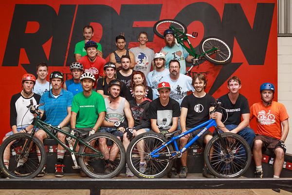 """ExpressiveBikes Inspired Group - ExpressiveBikes - Inspired Bike Trials Expression Session 2013; Ride On Indoor Park, Coopers Plains, Brisbane, Queensland, Australia; 31 August 2013. Camera 2, Photos by Des Thureson - <a href=""""http://disci.smugmug.com"""">http://disci.smugmug.com</a>."""