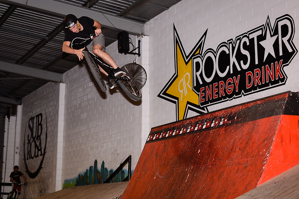 "Kaleb Cox - ExpressiveBikes - Inspired Bike Trials Expression Session 2013; Ride On Indoor Park, Coopers Plains, Brisbane, Queensland, Australia; 31 August 2013. Camera 1, Photos by Des Thureson - <a href=""http://disci.smugmug.com"">http://disci.smugmug.com</a>."