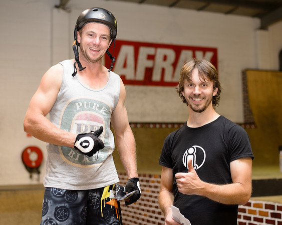 """Tim Mullaly, Joel Nelson - ExpressiveBikes - Inspired Bike Trials Expression Session 2013; Ride On Indoor Park, Coopers Plains, Brisbane, Queensland, Australia; 31 August 2013. Camera 1, Photos by Des Thureson - <a href=""""http://disci.smugmug.com"""">http://disci.smugmug.com</a>."""