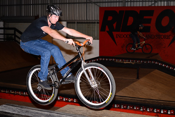 """Justin Bartowski - ExpressiveBikes - Inspired Bike Trials Expression Session 2013; Ride On Indoor Park, Coopers Plains, Brisbane, Queensland, Australia; 31 August 2013. Camera 1, Photos by Des Thureson - <a href=""""http://disci.smugmug.com"""">http://disci.smugmug.com</a>."""