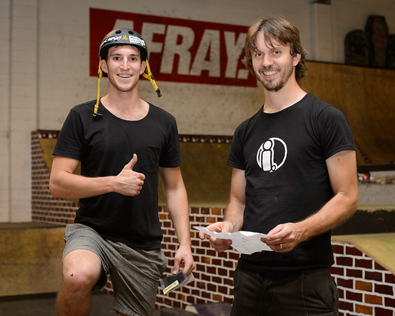 """Kaleb Cox, Tim Mullaly - ExpressiveBikes - Inspired Bike Trials Expression Session 2013; Ride On Indoor Park, Coopers Plains, Brisbane, Queensland, Australia; 31 August 2013. Camera 1, Photos by Des Thureson - <a href=""""http://disci.smugmug.com"""">http://disci.smugmug.com</a>."""