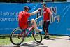 Tony Leyland (L) - Expressivebikes.com bike trials demo team at the 2010 Noosa Triathlon Multi Sport Festival, 30 October 2010. Noosa Heads, Sunshine Coast, Queensland, Australia.