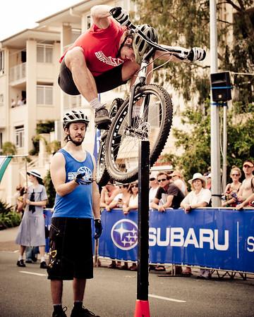 "Alternate Processing: ""PH Surreal Moment"" - Lewis Greenhalgh - ExpressiveBikes Bike Trials Demo Team - Super Saturday at the Noosa Triathlon Multi Sport Festival, Noosa Heads, Sunshine Coast, Queensland, Australia; 29 October 2011."