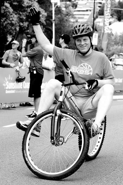 "Alternate Processing, ""Creative - B&W High Contrast"" - Tony Leyland - ExpressiveBikes Bike Trials Demo Team - Super Saturday at the Noosa Triathlon Multi Sport Festival, Noosa Heads, Sunshine Coast, Queensland, Australia; 29 October 2011."