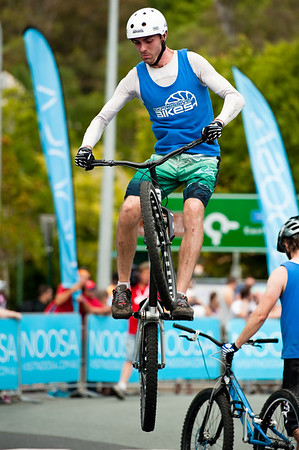Borys Zagrocki - ExpressiveBikes Bike Trials Demo Team - Super Saturday at the Noosa Triathlon Multi Sport Festival, Noosa Heads, Sunshine Coast, Queensland, Australia; 29 October 2011.