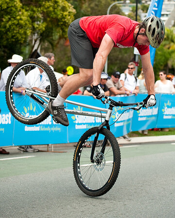 Lewis Greenhalgh - ExpressiveBikes Bike Trials Demo Team - Super Saturday at the Noosa Triathlon Multi Sport Festival, Noosa Heads, Sunshine Coast, Queensland, Australia; 29 October 2011.
