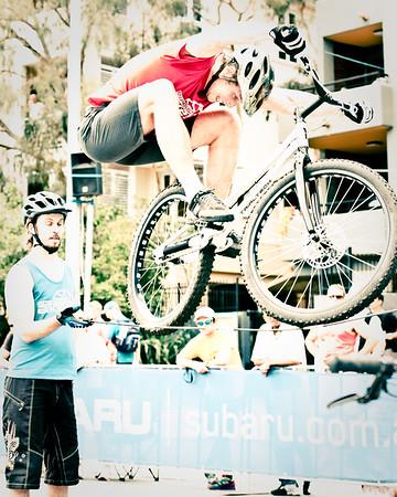 "Alternate Processing: ""Kelco Polar Cream"" (Kelly Castro) - Lewis Greenhalgh - ExpressiveBikes Bike Trials Demo Team - Super Saturday at the Noosa Triathlon Multi Sport Festival, Noosa Heads, Sunshine Coast, Queensland, Australia; 29 October 2011."