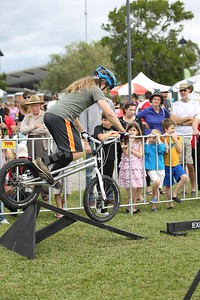 "Expressivebikes.com Bike Trials Demo Team at the Logan Eco Action Festival (""LEAF""), Griffith University, Logan Campus, Meadowbrook, Logan City, Queensland, Australia. Camera 2. Photos by Des Thureson - http://disci.smugmug.com."