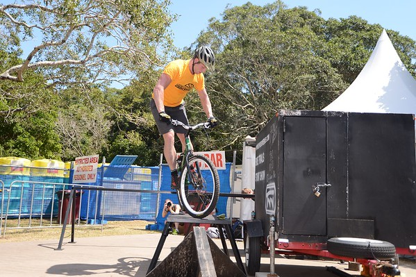 "ExpressiveBikes Bike Trials Stunt Team - 2013 Super Saturday at the Noosa Triathlon Multi Sport Festival, Noosa Heads, Sunshine Coast, Queensland, Australia. Camera 1. Photos by Des Thureson - <a href=""http://disci.smugmug.com"">http://disci.smugmug.com</a>"