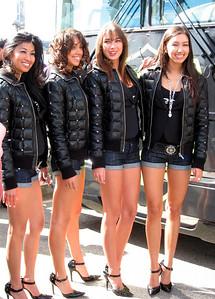 Ladies advertising Rock Racing team  http://www.rockracing.com/