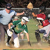 Lowell vs Billerica in Northeast League summer baseball. Billerica's Zach Dancewitz (20) is safe at home, Lowell catcher Patel (7) fielding the throw in the top of the fourth inning. (SUN/Julia Malakie)