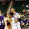 Record-Eagle/Jan-Michael Stump<br /> Traverse City St. Francis' Riley Corcoran, Devin Sheehy and Sean Sheldon celebrate Thursday's 3-54 win over Shelby in the Class C state semifinal game at the Breslin Center in East Lansing.