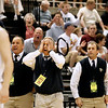 Record-Eagle/Jan-Michael Stump<br /> Traverse City St. Francis coach Keith Haske reacts to a call in the second half of Thursday's Class C state semifinal win over Shelby at the Breslin Center in East Lansing.